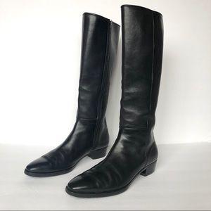 Gravati Black Leather Tall Boots Size 7.5 M